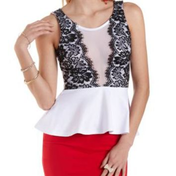 Mesh & Lace Peplum Top by Charlotte Russe