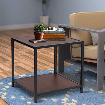 Metal Frame End Table with Wooden Top and Bottom Shelf, Brown and Black By Casagear Home