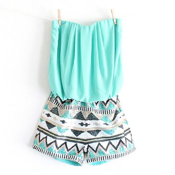 Final Sale - Strapless Aztec Sequin Romper in Turquoise