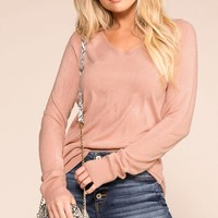 Coffee Break Mauve Long Sleeve Top