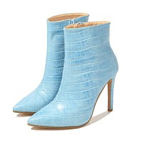 Snakeskin print Chelsea boots women's back zipper short boots pointed toe stiletto and velvet high heel boots light blue