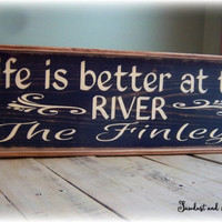 Over Door Decor, Rustic River Signs, Family Name Sign, Wood Sign, Framed Wall Art, Personalized Gift, Long Sign, River Decor,Custom Wall Art