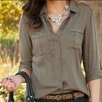 Army green fashion loose shirt