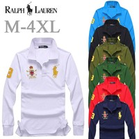New Ralph Lauren MEN Long Sleeve Simple Polo Shirt 100% COTTON TOP