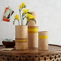 Twine-Wrapped Wood Vases