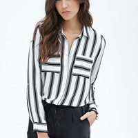 Black Vertical Striped Long-Sleeve Chiffon Blouse