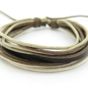 Cuff Bracelet Made Of Multicolour Cotton Paraffined Ropes Woven adjustable 44S-1