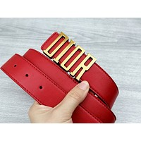 Dior Tide brand women's retro classic letter buckle belt Red