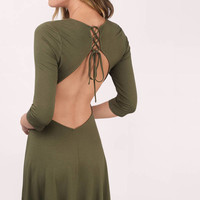 Can't Believe Lace Up Skater Dress