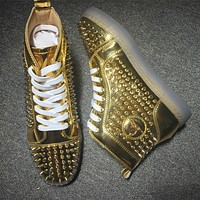 Christian Louboutin CL Louis Spikes Style #1840 Sneakers Fashion Shoes Online