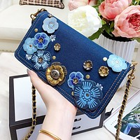 COACH Women Retro Denim Leather Metal Chain Crossbody Satchel Shoulder Bag
