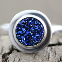 Druzy Ring, Size 6, 7, 8, 9  - Sterling Silver with Cobalt Blue Titanium Drusy (D032)