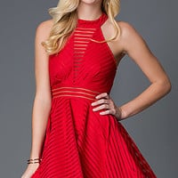 Open Back Fit and Flare Holiday Dress