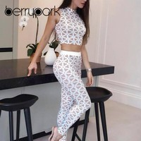 BerryPark Geometric Print Tracksuit 2019 Summer Women White Sport Suit Gym 2 Piece Set Sportwear Yoga Sets Fitness Workout Wear