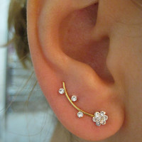 Flower Ear Sweep Wrap - Cuff Earring Ear Climber with Swarovsky - Gold filled or Silver Pl.