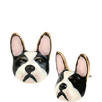 SUGAR CRITTERS BLACK AND WHITE DOG STUDS: Betsey Johnson