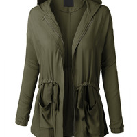 LE3NO Womens Lightweight Long Sleeve Military Anorak Jacket with Hoodie (CLEARANCE)