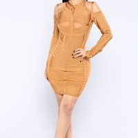 April Bandage Cutout Dress  - Amber