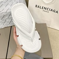 Balenciaga women's personality solid color slippers beach sandals flip flops Shoes White