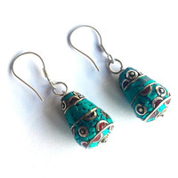 Nepal Earrings , Gift , Ethnic Earrings , Turquoise and Coral earrings , Easter , Tribal , Tibet Beads , Handmade Nepal Jewelry