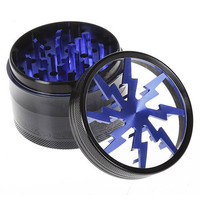 """Herb - Tobacco Grinder with Pollen Catcher and two Scrapers – Blue Lightning - 4 Layer - 2 1/2"""" x 1 7/8"""" Premium Grade Aluminum Body"""