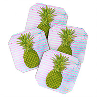 Madart Inc. Striped Pineapple Coaster Set