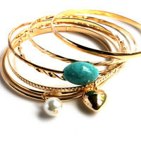"""The Big Bang"" Gold Bangle Bracelet Set"
