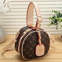 LV Louis Vuitton Colorblock Print Women's Shopping Shoulder Bag Messenger Bag Round Cake Bag