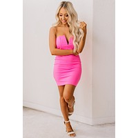 Leave You Speechless Strapless Dress (Pink)