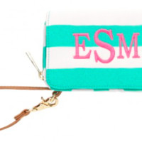 Mint Stripe Wristlet