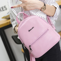 Candy Color Casual Leather Backpack Schoolbag Travel Bag - Gift
