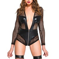 Take the Plunge Wet Look Bodysuit