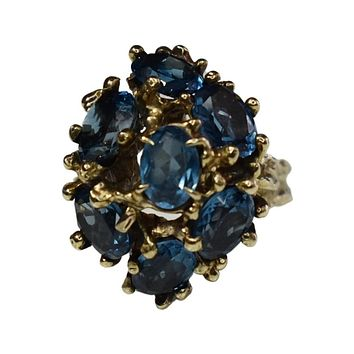 Rare Vintage 14k  Peacock Blue Sapphire Ring 6.86 ctw Branch Setting Saturated Teal Blue