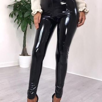 Black PU-Leather Latex Vinyl Trendy Bodycon Party Long Legging