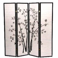 Legacy Decor 4-Panel Black Bamboo Print Oriental Shoji Screen / Room Divider