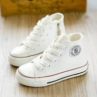 2016 new spring autumn children shoes girls Fashion child canvas shoes boys high shoes baby shoes white sneaker toddler
