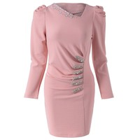 Stylish Long Sleeves Solid Color Pleated Beaded Dress For Women