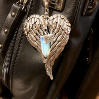 Opal Gems Crystal, Big Beautiful Angel Wings, WISH Tag Purseclip, Zipper Pull with Free Bag & Angel Message Card.Healing Energy Infused.