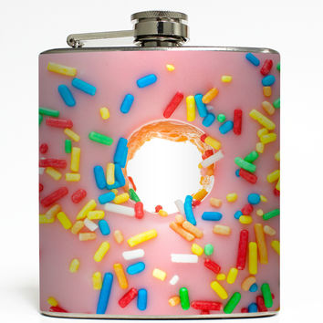 Donut with Pink Icing and Sprinkles - Food Flask