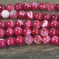 fushcia banded agate beads - fushcia gemstone  agate - stripe loose beads - white and fushcia beads - round agate beads -size 6-12mm -15inch