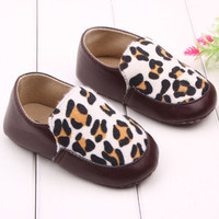 Toddler Baby Infants Crib Leopard Shoes Boy Girl Soft Sole Shoes Prewalker 0-18M