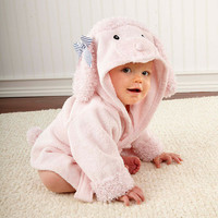 Baby Aspen Pretty in Pink Poodle Hooded Spa Robe 0-9 months