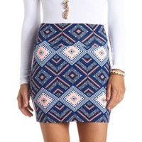 Geo-Tribal Print Bodycon Mini Skirt by Charlotte Russe