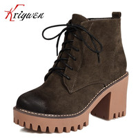 2017 New Winter fall flock motorcycle boots punk style round toe chunky high heels ankle boot Women leisure Fashion martin shoes