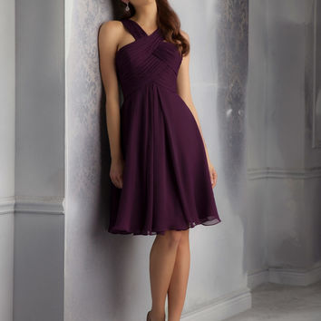 Short Luxe Chiffon Morilee Bridesmaid Dress with Draped and Crossed Neckline   Style 204340   Morilee