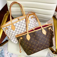 LV Louis Vuitton Women's Classic Presbyopia Large Capacity Shopping Bag Beach Bar Two-Piece Bag