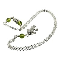 Sterling Silver Green Peridot Frog Necklace