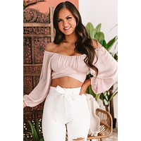 Keep It Real Satin Tie Back Crop Top (Light Pink)