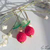 Crochet earrings - Red cherry for womens  - Gift for her - Everyday jewelry - Fashion earrings