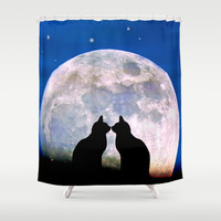 The Love Cats Shower Curtain by Pirmin Nohr